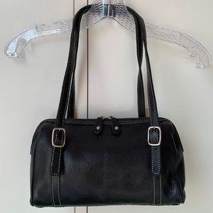 Roots Canada Made Black Pebbled Leather Shoulder Bag